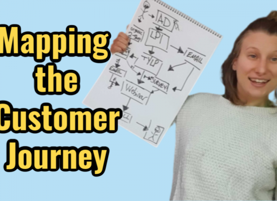 mapping your customer journey on a blue background with a smiling woman