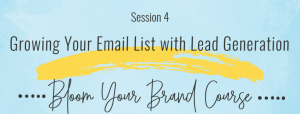 Brand Course Session 4 Email list and Lead Generation