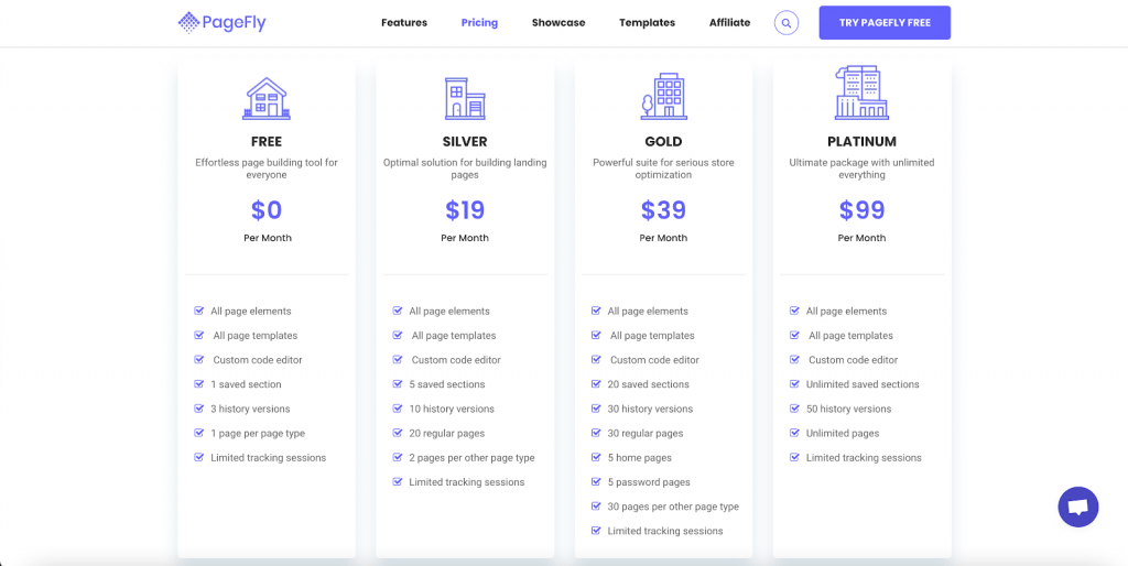 Pagefly Pricing - Free Forever, 10 per month, 30 per month, or 99 per month.