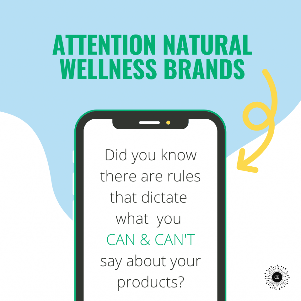 Attention wellness brands, there are things you can and cannot say about your products! Words on a phone with a blue and white background