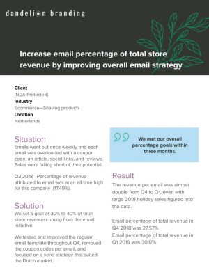 Email Revenue Strategy Case Study for Dandelion Branding for you to double revenue per email