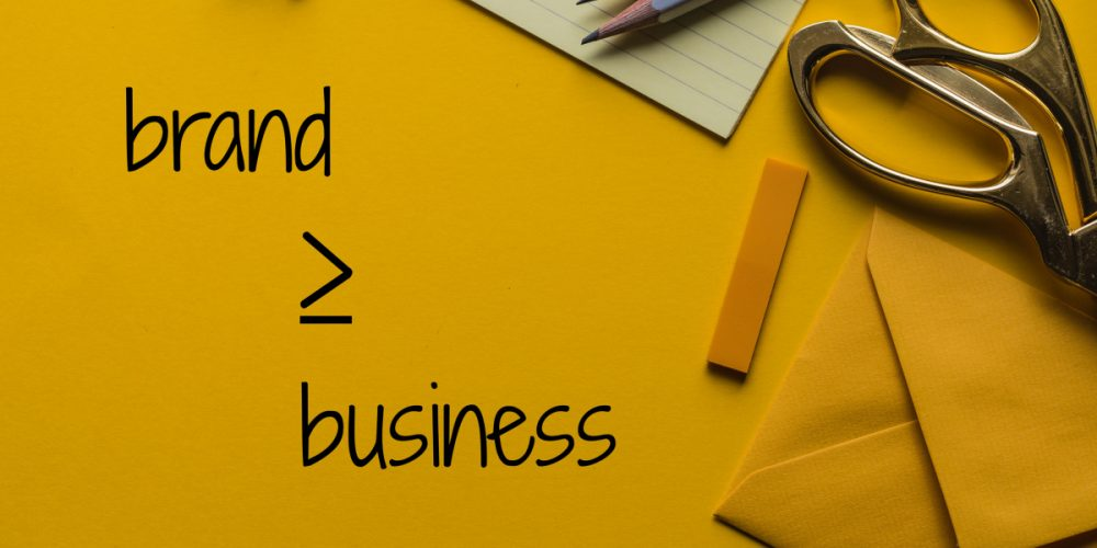 building your brand is the same thing as building your business. We like yellow here, it's one of our accent colors so I used this desk supplies on yellow background monochrome image