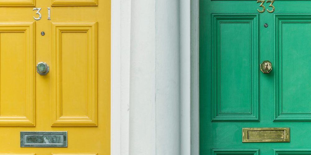 yellow, white, green, doors using conversation rate to know what walks through it for business conversion rate